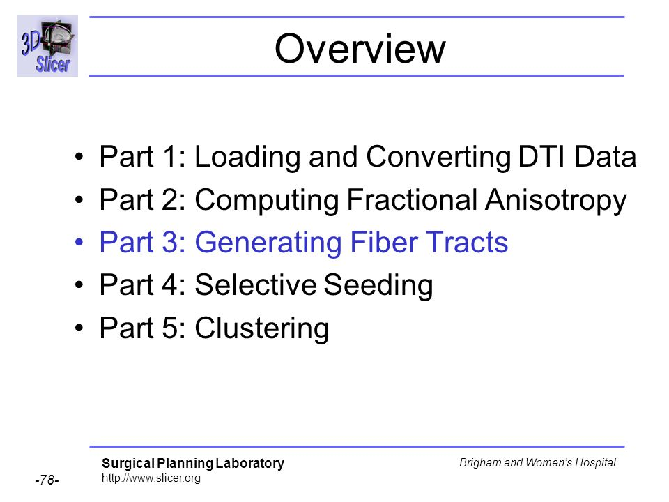 Surgical Planning Laboratory http://www.slicer.org -78- Brigham and Womens Hospital Overview Part 1: Loading and Converting DTI Data Part 2: Computing Fractional Anisotropy Part 3: Generating Fiber Tracts Part 4: Selective Seeding Part 5: Clustering