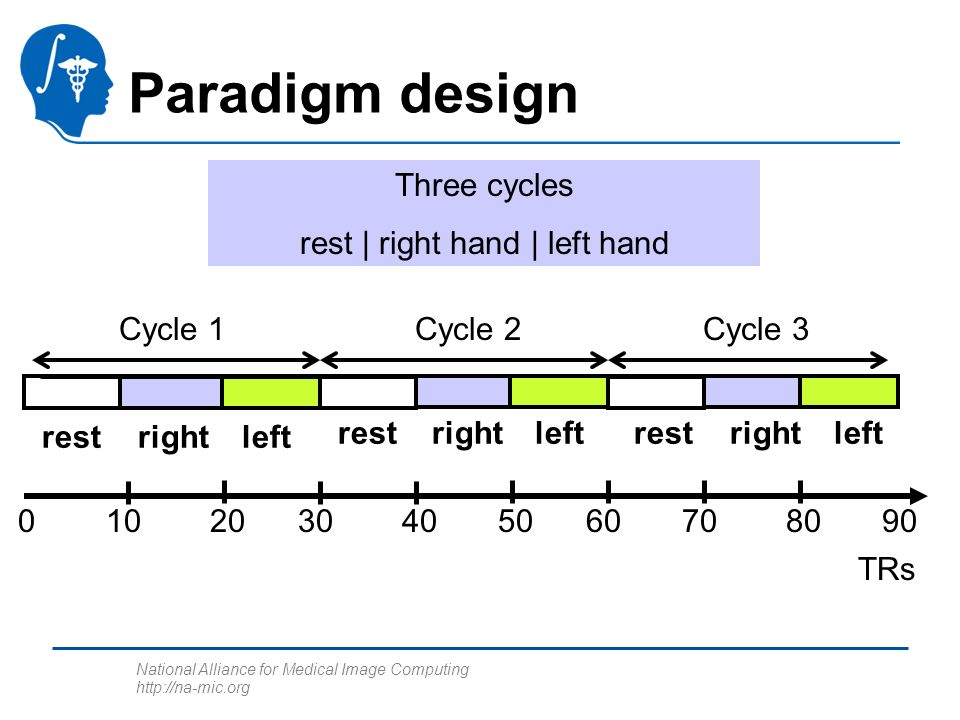 National Alliance for Medical Image Computing http://na-mic.org Paradigm design 0 TRs 103020405060708090 Cycle 1Cycle 2Cycle 3 Three cycles rest | right hand | left hand rightleftrest rightleftrestrightleftrest