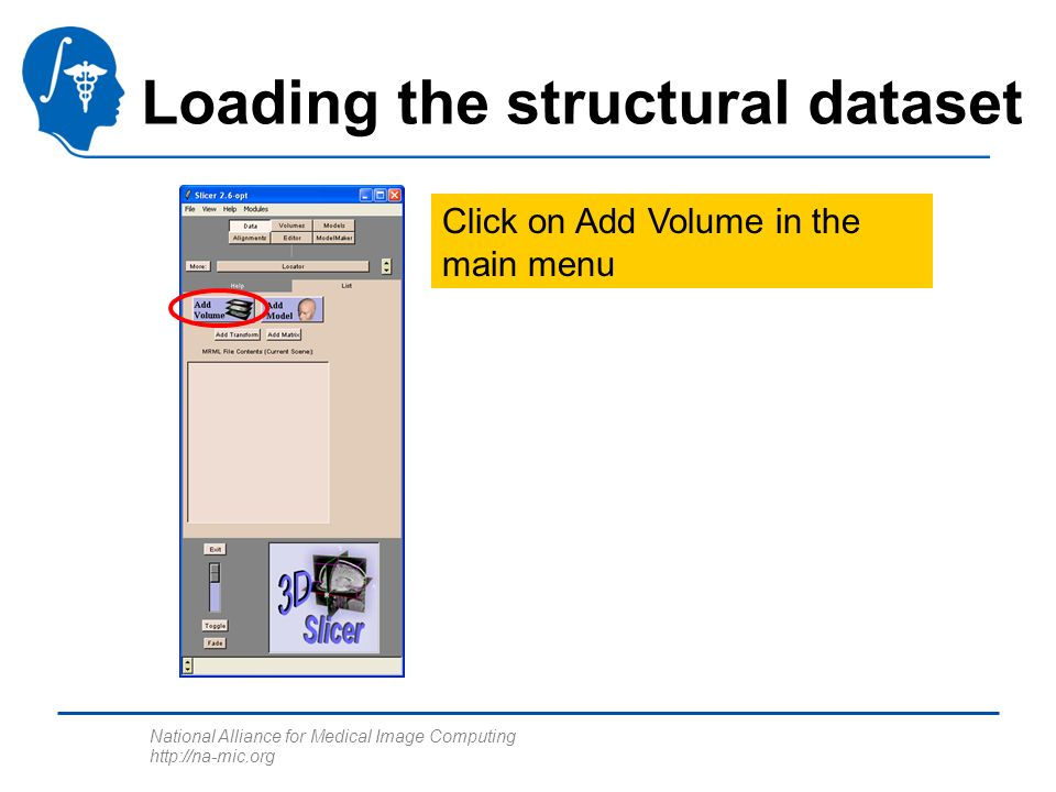 National Alliance for Medical Image Computing http://na-mic.org Loading the structural dataset Click on Add Volume in the main menu