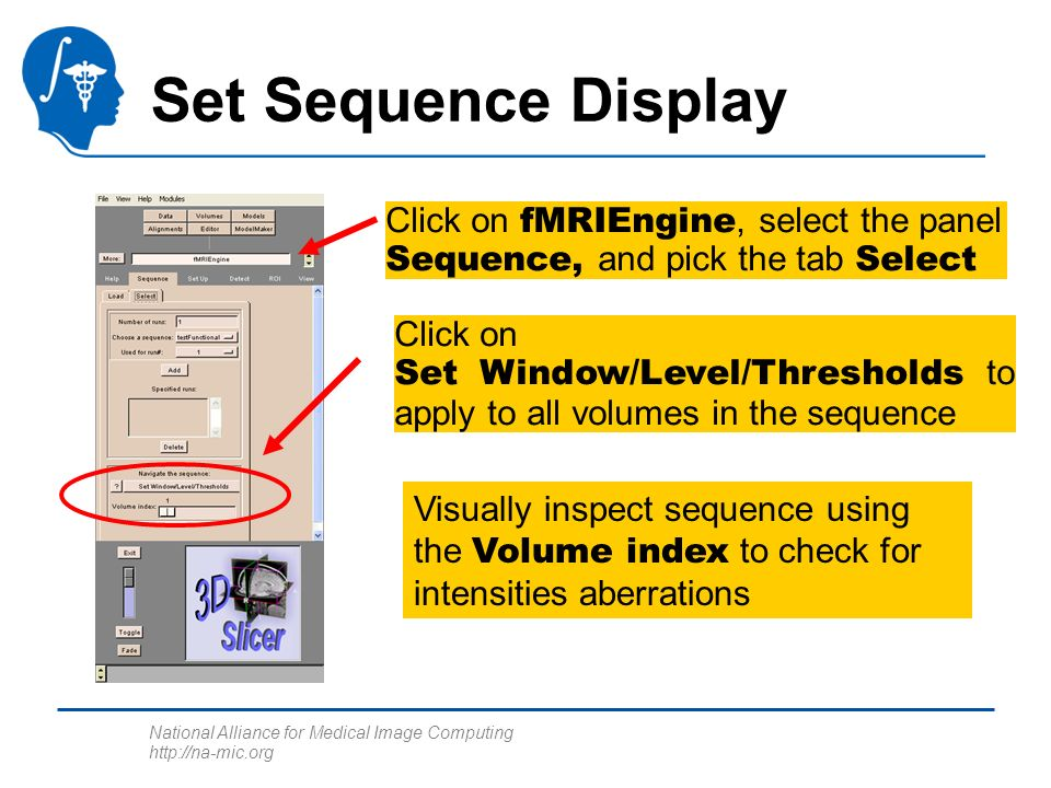 National Alliance for Medical Image Computing http://na-mic.org Set Sequence Display Click on Set Window/Level/Thresholds to apply to all volumes in the sequence Visually inspect sequence using the Volume index to check for intensities aberrations Click on fMRIEngine, select the panel Sequence, and pick the tab Select