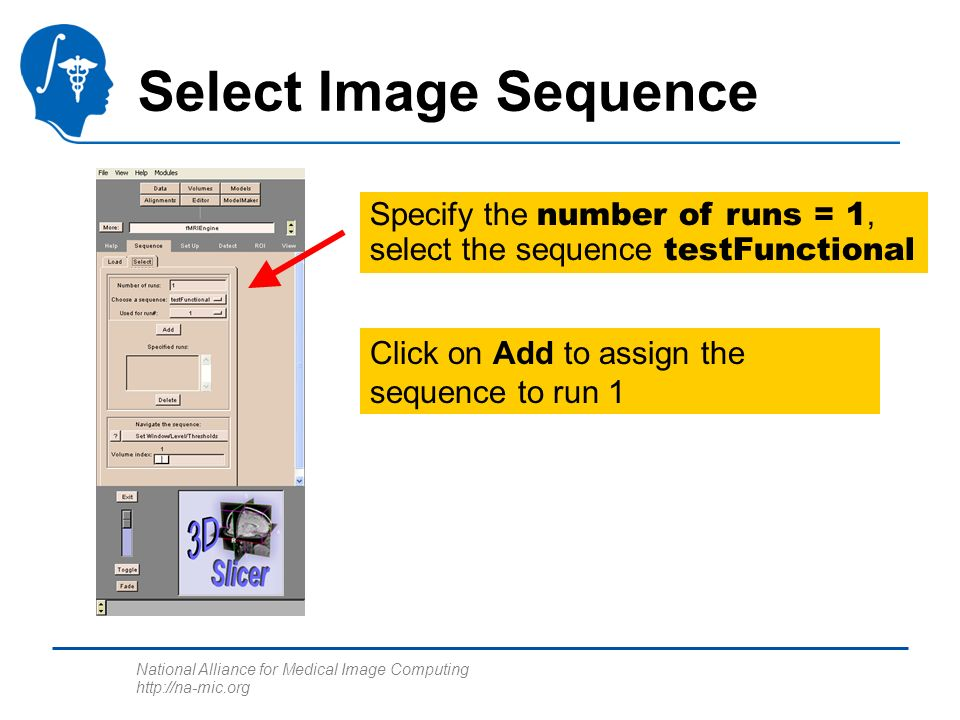 National Alliance for Medical Image Computing http://na-mic.org Select Image Sequence Specify the number of runs = 1, select the sequence testFunctional Click on Add to assign the sequence to run 1
