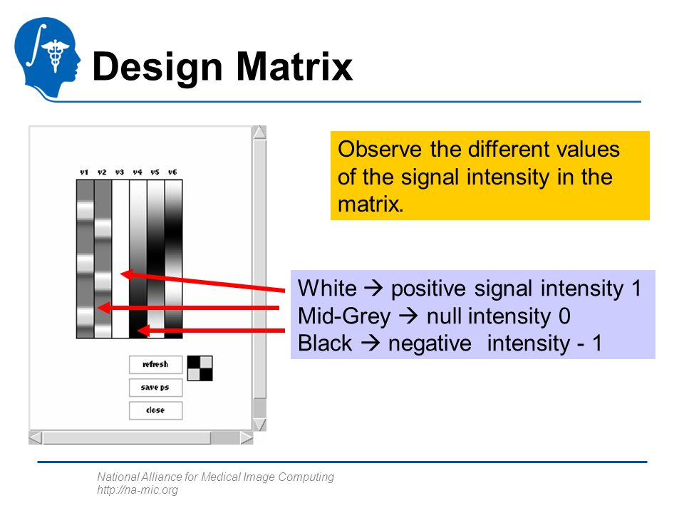 National Alliance for Medical Image Computing http://na-mic.org Design Matrix White positive signal intensity 1 Mid-Grey null intensity 0 Black negative intensity - 1 Observe the different values of the signal intensity in the matrix.