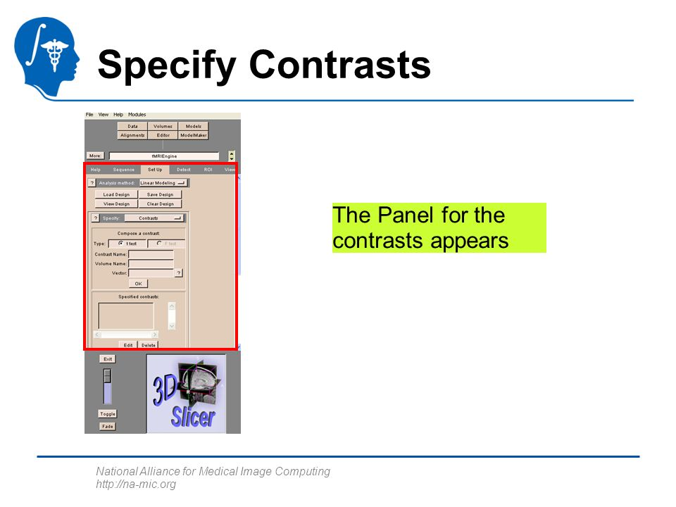 National Alliance for Medical Image Computing http://na-mic.org Specify Contrasts The Panel for the contrasts appears
