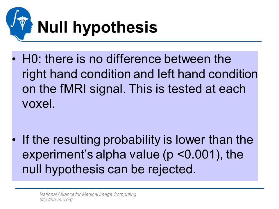 National Alliance for Medical Image Computing http://na-mic.org Null hypothesis H0: there is no difference between the right hand condition and left hand condition on the fMRI signal.