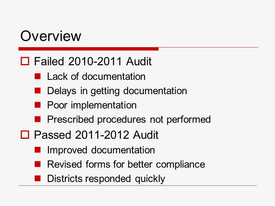 Overview Failed 2010-2011 Audit Lack of documentation Delays in getting documentation Poor implementation Prescribed procedures not performed Passed 2011-2012 Audit Improved documentation Revised forms for better compliance Districts responded quickly