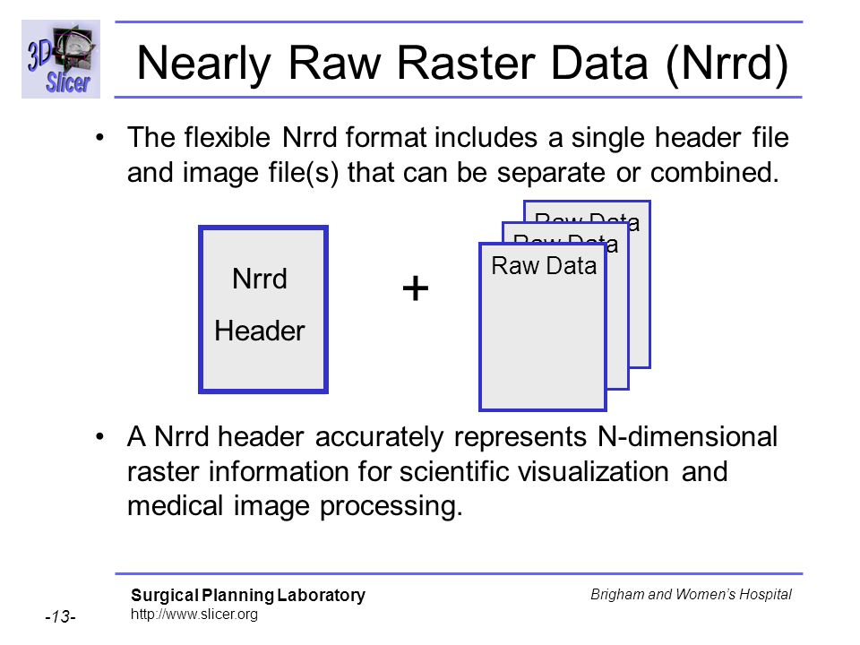 Surgical Planning Laboratory http://www.slicer.org -13- Brigham and Womens Hospital Nearly Raw Raster Data (Nrrd) The flexible Nrrd format includes a single header file and image file(s) that can be separate or combined.