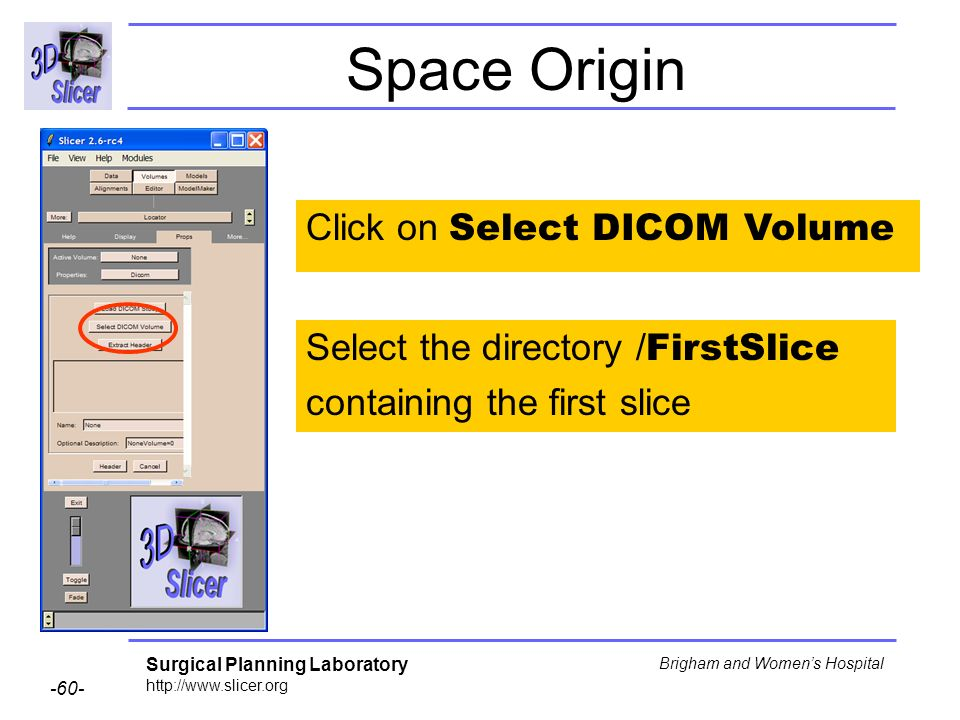 Surgical Planning Laboratory http://www.slicer.org -60- Brigham and Womens Hospital Space Origin Click on Select DICOM Volume Select the directory / FirstSlice containing the first slice