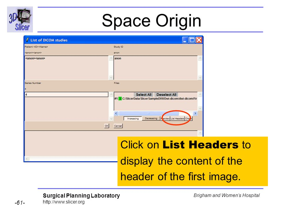 Surgical Planning Laboratory http://www.slicer.org -61- Brigham and Womens Hospital Space Origin Click on List Headers to display the content of the header of the first image.