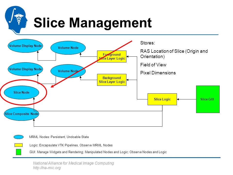 National Alliance for Medical Image Computing http://na-mic.org Slice Management Foreground Slice Layer Logic Slice Node Slice Composite Node Background Slice Layer Logic Slice Logic Volume Display Node Volume Node Volume Display Node Volume Node Slice GUI MRML Nodes: Persistent, Undoable State Logic: Encapsulate VTK Pipelines, Observe MRML Nodes GUI: Manage Widgets and Rendering; Manipulated Nodes and Logic; Observe Nodes and Logic Stores: RAS Location of Slice (Origin and Orientation) Field of View Pixel Dimensions