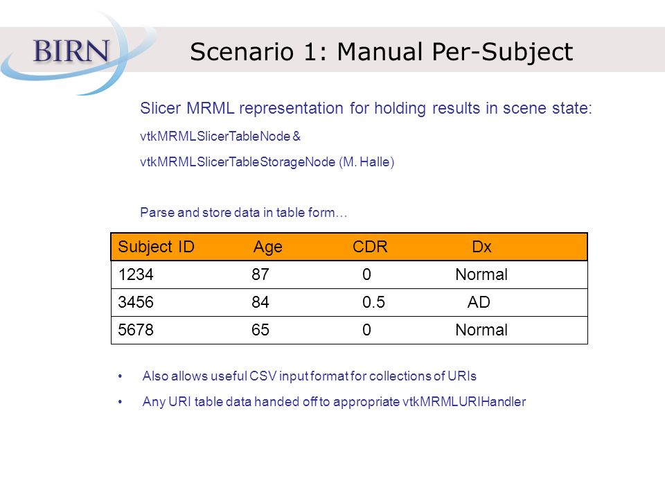 Scenario 1: Manual Per-Subject Slicer MRML representation for holding results in scene state: vtkMRMLSlicerTableNode & vtkMRMLSlicerTableStorageNode (M.