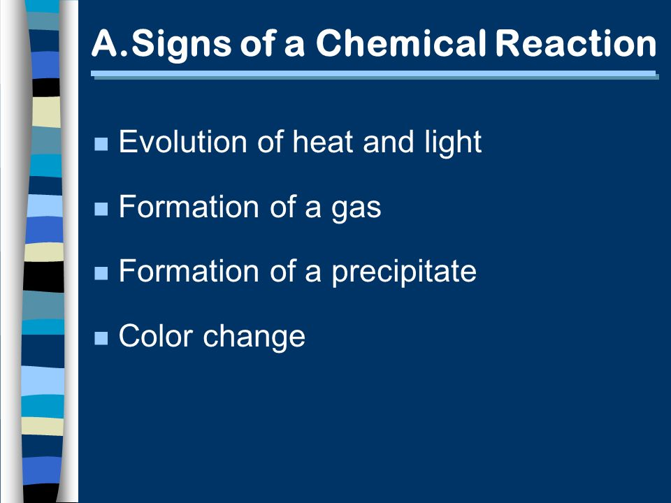 A.Signs of a Chemical Reaction n Evolution of heat and light n Formation of a gas n Formation of a precipitate n Color change