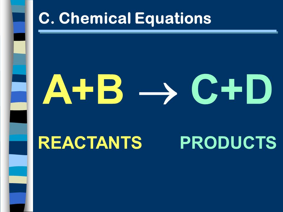 C. Chemical Equations A+B C+D REACTANTSPRODUCTS