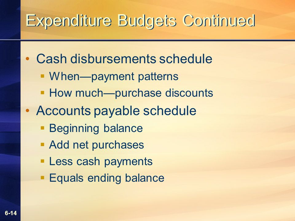 6-14 Expenditure Budgets Continued Cash disbursements schedule Whenpayment patterns How muchpurchase discounts Accounts payable schedule Beginning balance Add net purchases Less cash payments Equals ending balance