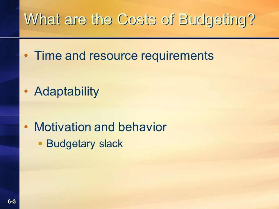 6-3 What are the Costs of Budgeting.