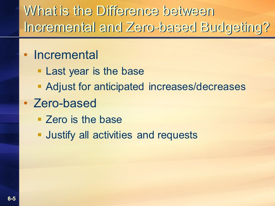 6-5 What is the Difference between Incremental and Zero-based Budgeting.