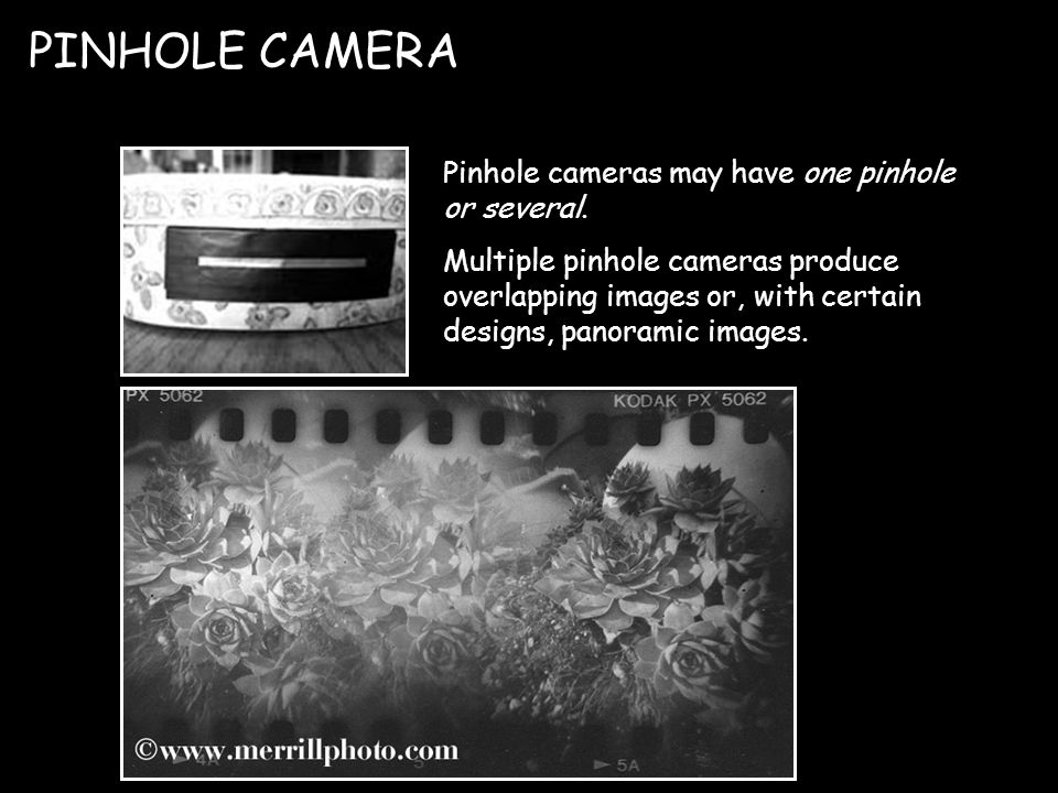 Pinhole cameras may have one pinhole or several.