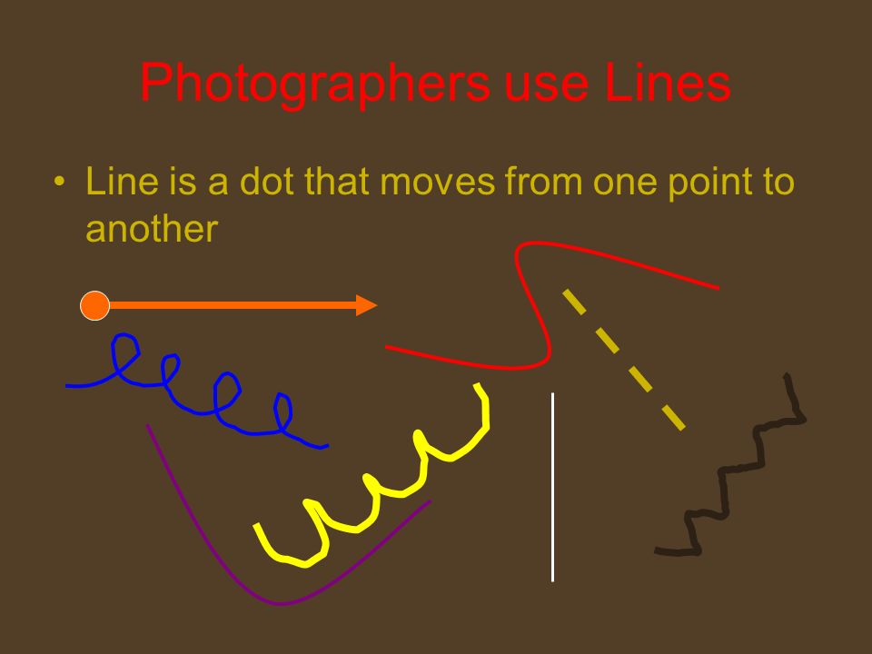 Photographers use Lines Line is a dot that moves from one point to another