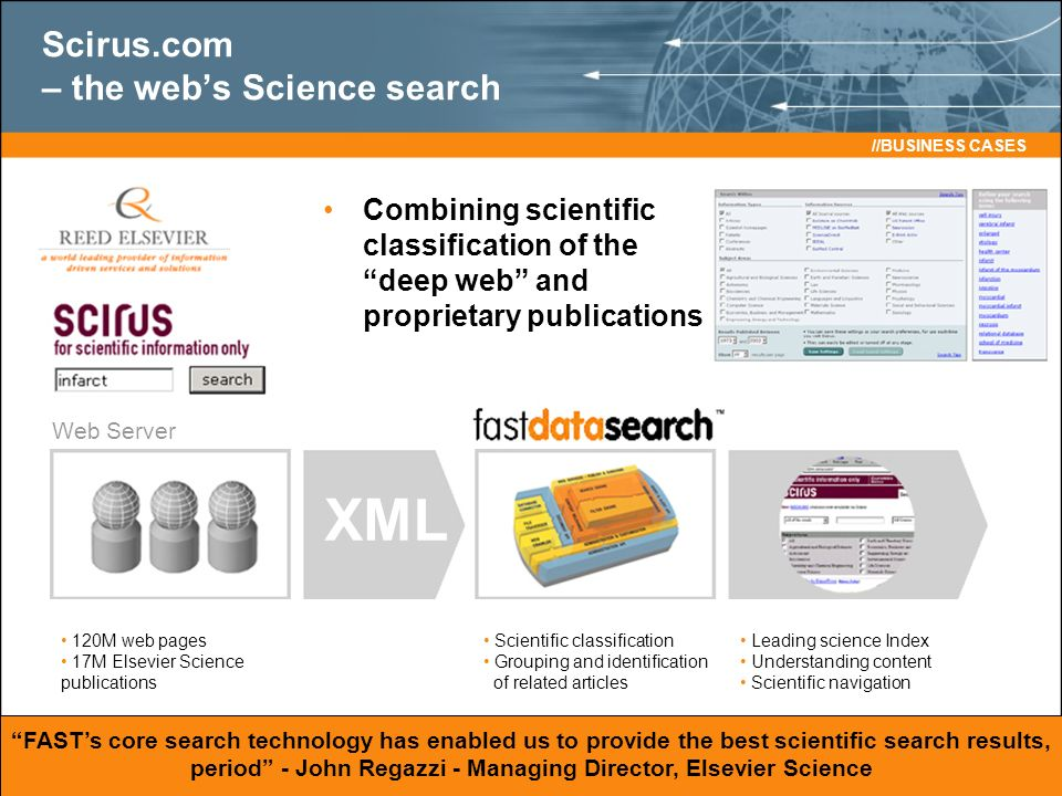 Combining scientific classification of the deep web and proprietary publications FASTs core search technology has enabled us to provide the best scientific search results, period - John Regazzi - Managing Director, Elsevier Science Web Server XML //BUSINESS CASES 120M web pages 17M Elsevier Science publications Scientific classification Grouping and identification of related articles Leading science Index Understanding content Scientific navigation Scirus.com – the webs Science search