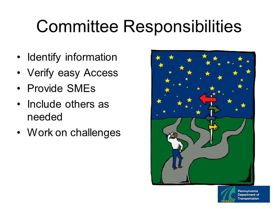 Committee Responsibilities Identify information Verify easy Access Provide SMEs Include others as needed Work on challenges