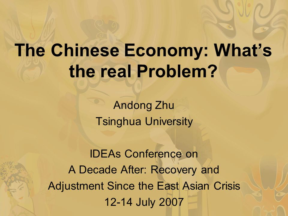 The Chinese Economy: Whats the real Problem.