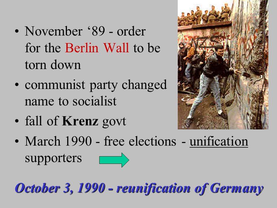 1989 - demonstrations -Gorbachev declines to back communists Honecker resigns (Oct 89); Krenz replaces – promises reforms Russian foreign minister Shevardnadze - each country has right to absolute freedom of choice East Germans interpret free to leave (unintentional)…...