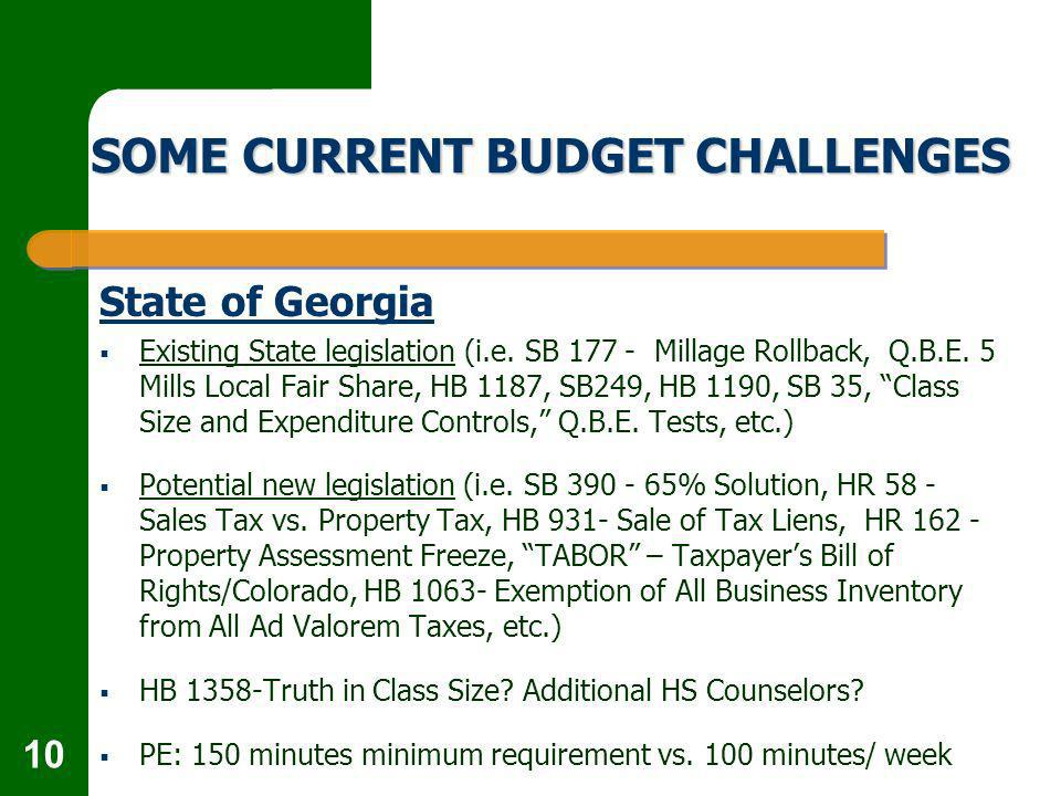 10 SOME CURRENT BUDGET CHALLENGES State of Georgia Existing State legislation (i.e.