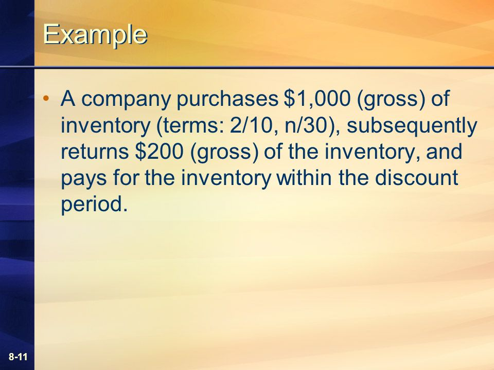 8-11 Example A company purchases $1,000 (gross) of inventory (terms: 2/10, n/30), subsequently returns $200 (gross) of the inventory, and pays for the inventory within the discount period.