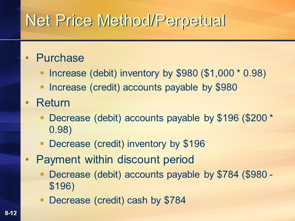 8-12 Net Price Method/Perpetual Purchase Increase (debit) inventory by $980 ($1,000 * 0.98) Increase (credit) accounts payable by $980 Return Decrease (debit) accounts payable by $196 ($200 * 0.98) Decrease (credit) inventory by $196 Payment within discount period Decrease (debit) accounts payable by $784 ($980 - $196) Decrease (credit) cash by $784