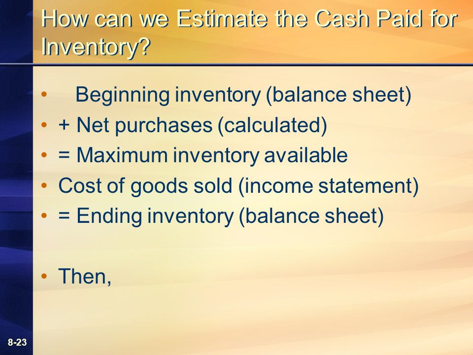 8-23 How can we Estimate the Cash Paid for Inventory.