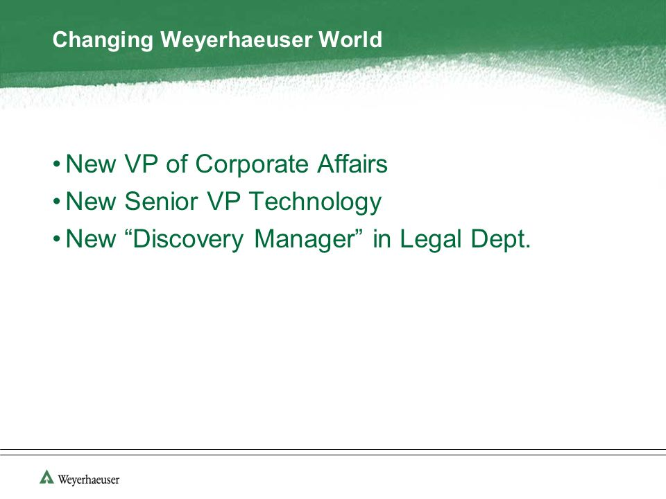 Changing Weyerhaeuser World New VP of Corporate Affairs New Senior VP Technology New Discovery Manager in Legal Dept.