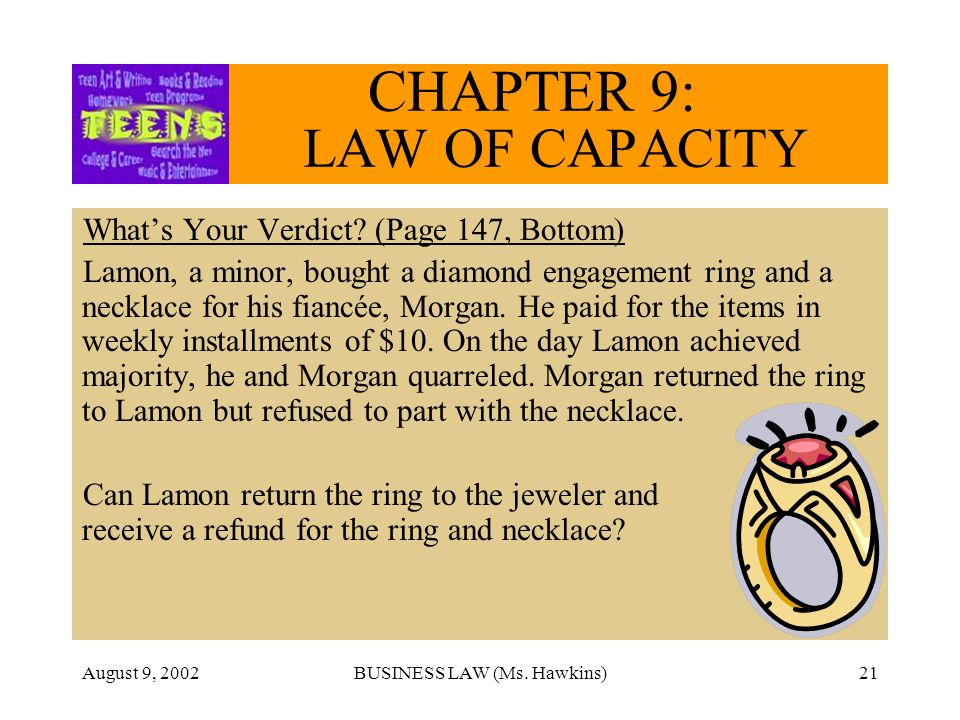 August 9, 2002BUSINESS LAW (Ms. Hawkins)21 CHAPTER 9: LAW OF CAPACITY Whats Your Verdict.