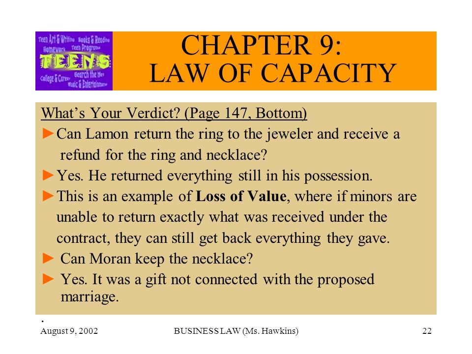 August 9, 2002BUSINESS LAW (Ms. Hawkins)22 CHAPTER 9: LAW OF CAPACITY Whats Your Verdict.