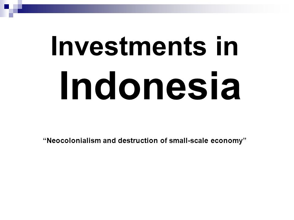 Investments in Indonesia Neocolonialism and destruction of small-scale economy
