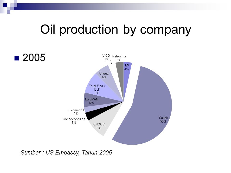 Oil production by company 2005 Sumber : US Embassy, Tahun 2005