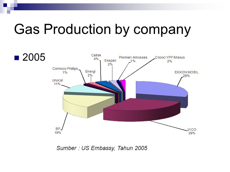 Gas Production by company 2005 Sumber : US Embassy, Tahun 2005