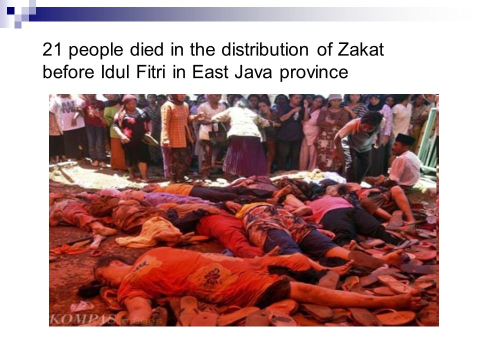 21 people died in the distribution of Zakat before Idul Fitri in East Java province