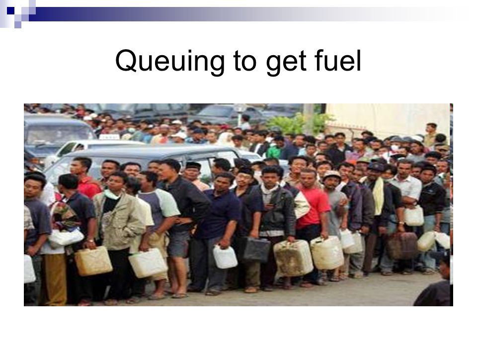 Queuing to get fuel