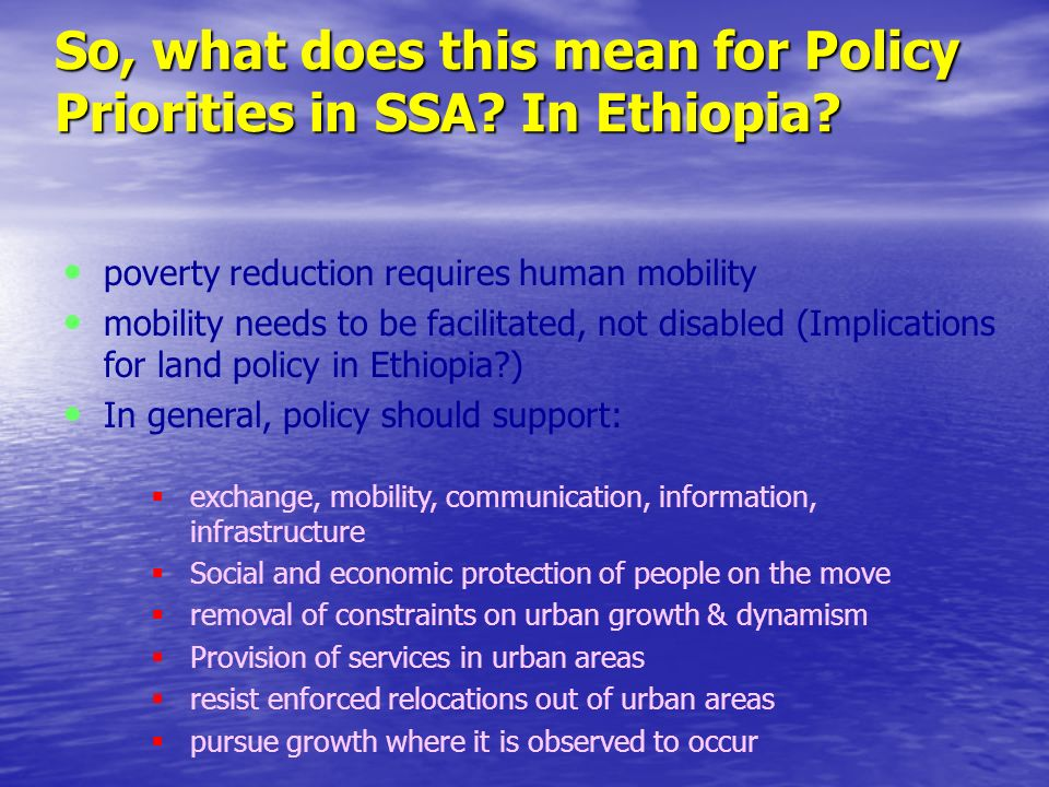 The Value of Urbanization for Ethiopian Agriculture empirical projections using a preliminary Demo Economic Model that Jean Marie Cour developed for Ethiopia illustrate exactly this point.