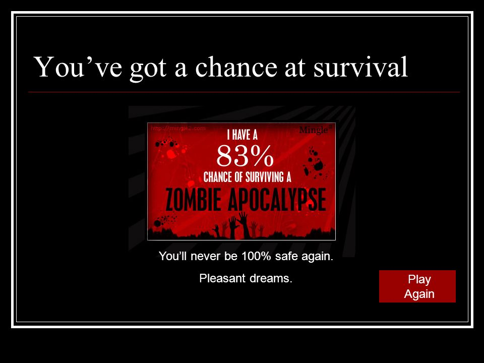 Youve got a chance at survival Play Again Youll never be 100% safe again. Pleasant dreams.