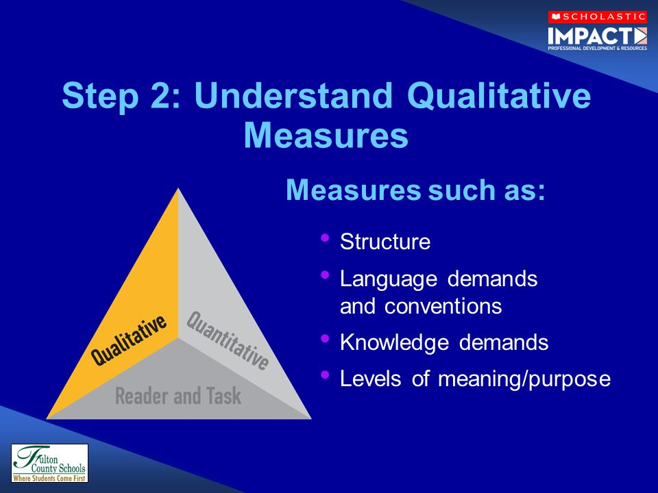 Structure Language demands and conventions Knowledge demands Levels of meaning/purpose Step 2: Understand Qualitative Measures Measures such as: