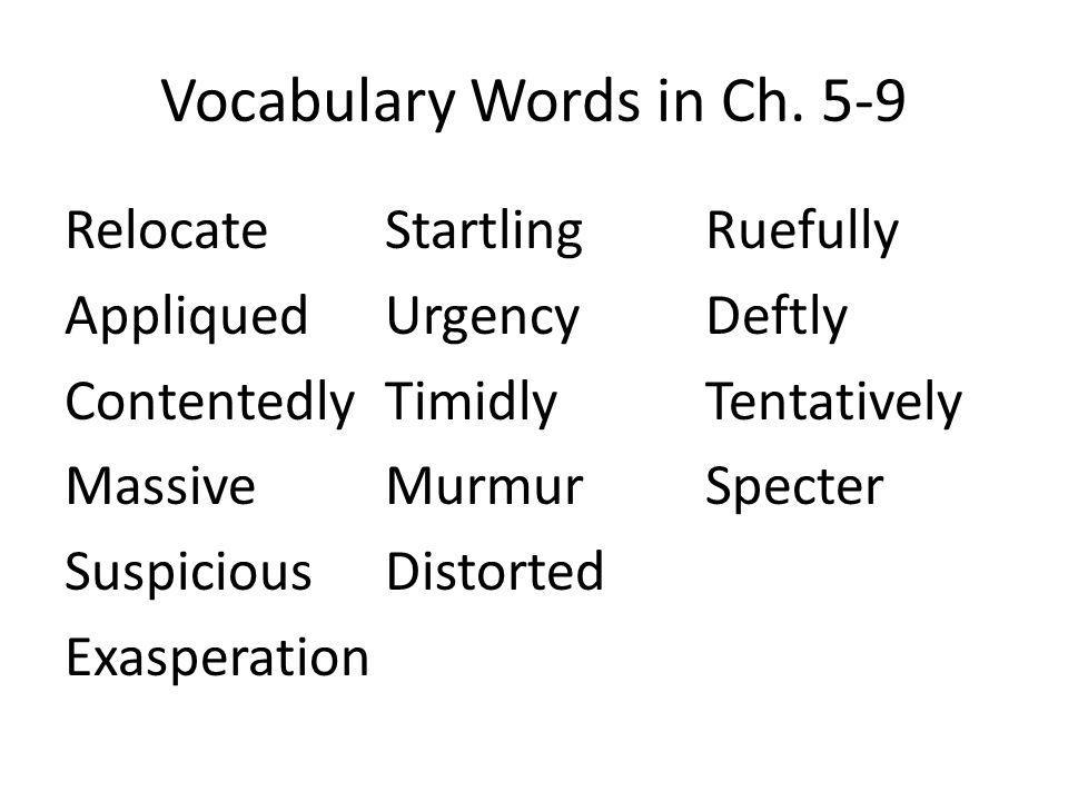 Vocabulary Words in Ch.