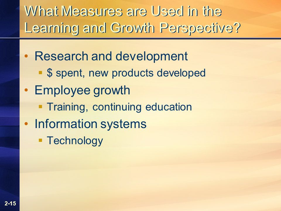 2-15 What Measures are Used in the Learning and Growth Perspective.