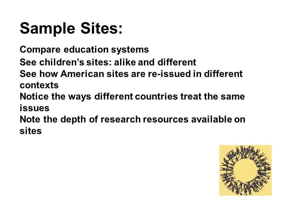 Sample Sites: Compare education systems See childrens sites: alike and different See how American sites are re-issued in different contexts Notice the ways different countries treat the same issues Note the depth of research resources available on sites