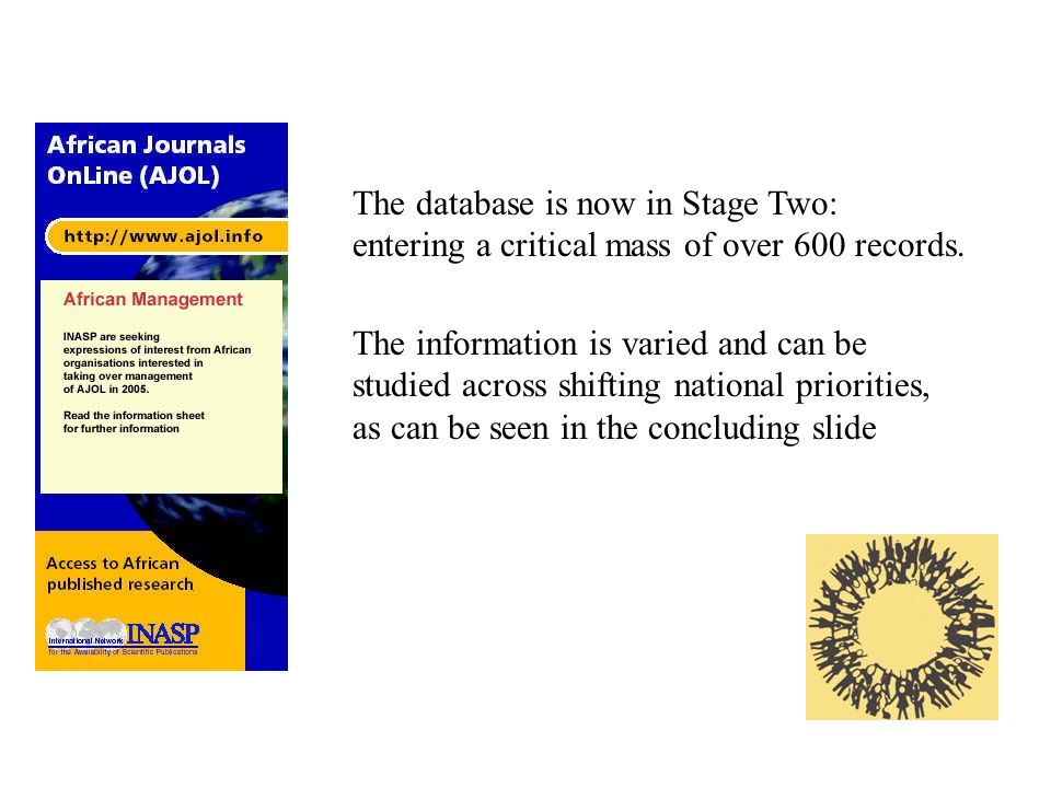 The information is varied and can be studied across shifting national priorities, as can be seen in the concluding slide The database is now in Stage Two: entering a critical mass of over 600 records.