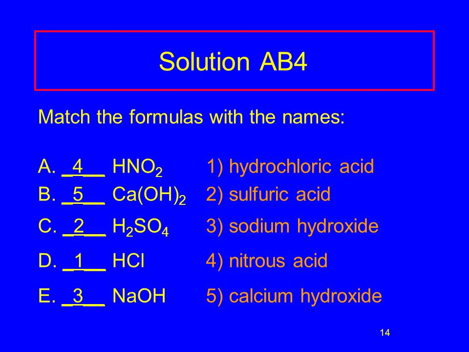 14 Solution AB4 Match the formulas with the names: A.