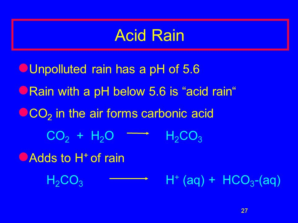 27 Acid Rain Unpolluted rain has a pH of 5.6 Rain with a pH below 5.6 is acid rain CO 2 in the air forms carbonic acid CO 2 + H 2 O H 2 CO 3 Adds to H + of rain H 2 CO 3 H + (aq) + HCO 3 -(aq) Formation of acid rain: 1.