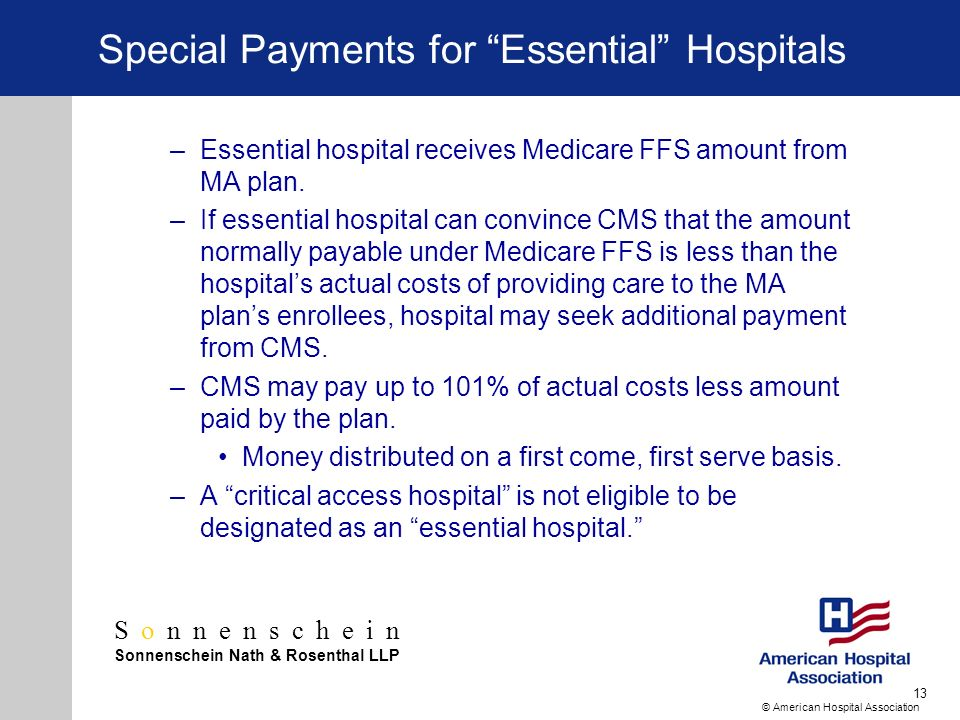 Sonnenschein Sonnenschein Nath & Rosenthal LLP © American Hospital Association 13 Special Payments for Essential Hospitals –Essential hospital receives Medicare FFS amount from MA plan.