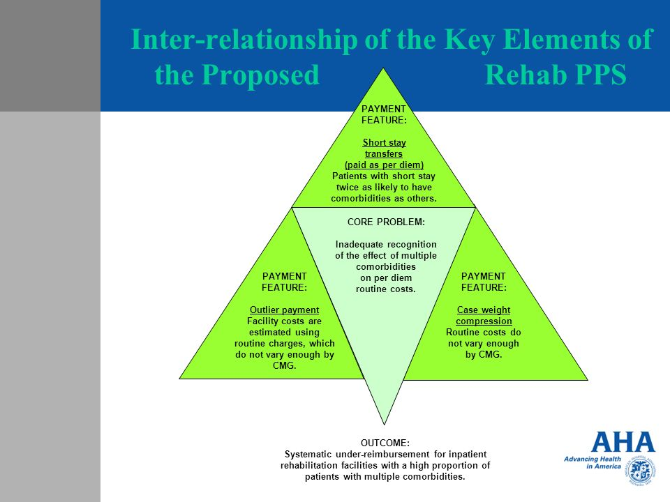 Inter-relationship of the Key Elements of the Proposed Rehab PPS PAYMENT FEATURE: Short stay transfers (paid as per diem) Patients with short stay twice as likely to have comorbidities as others.