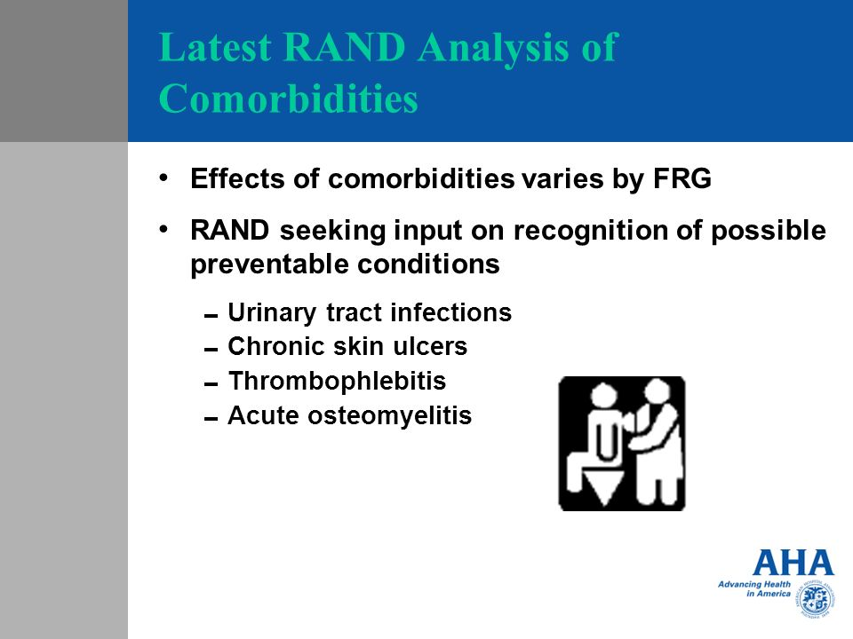 Latest RAND Analysis of Comorbidities Effects of comorbidities varies by FRG RAND seeking input on recognition of possible preventable conditions Urinary tract infections Chronic skin ulcers Thrombophlebitis Acute osteomyelitis