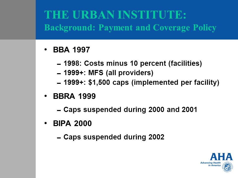 THE URBAN INSTITUTE: Background: Payment and Coverage Policy BBA 1997 1998: Costs minus 10 percent (facilities) 1999+: MFS (all providers) 1999+: $1,500 caps (implemented per facility) BBRA 1999 Caps suspended during 2000 and 2001 BIPA 2000 Caps suspended during 2002
